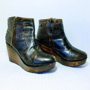 Bed Stu Ghent Distressed Leather Wedge Bootie